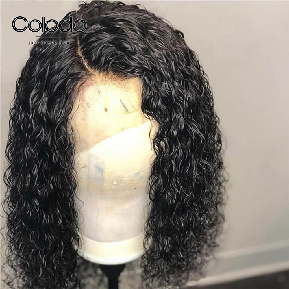 Lace Wigs Colodo 13*4 Natural Black Curly Wig With Baby Hair Pre Plucked Hairline Brazilian Remy Human Hair Lace Front Wigs For Women Possessing Chinese Flavors