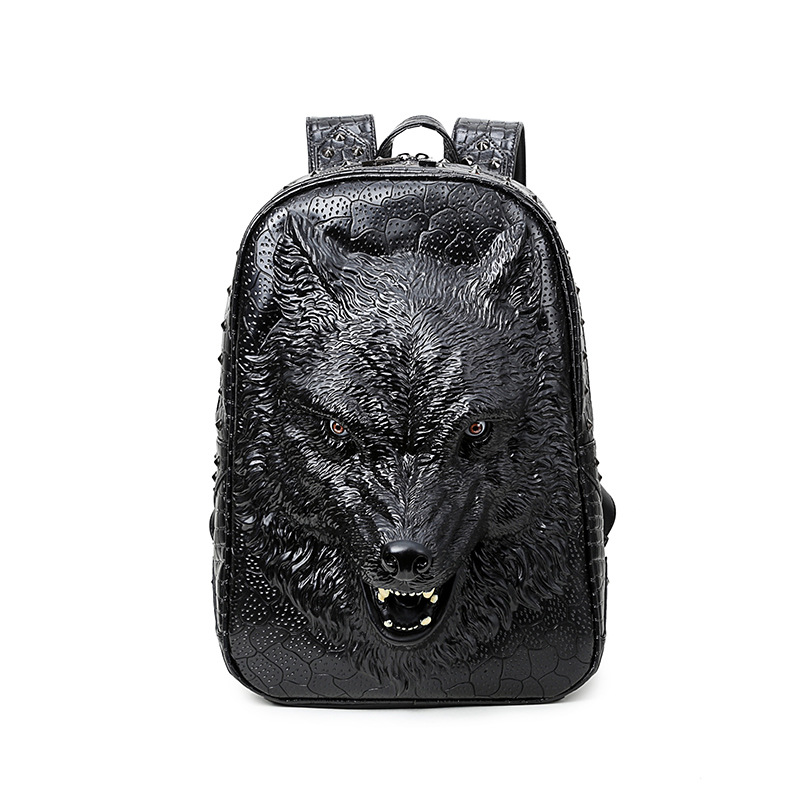 3D Emboss Spatial Wild Wolf Leather Backpack for Teenage Girls Travel Laptop Bagpack Women Men Shoulder Mochila Feminina