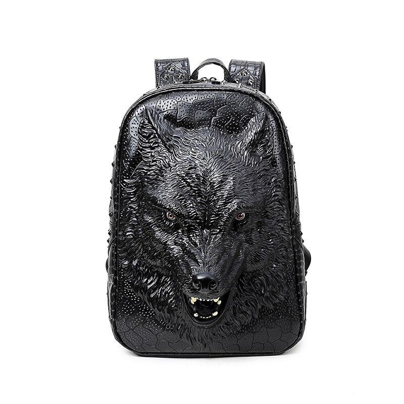 3D embosser Spatial loup sauvage en cuir sac à dos pour les adolescentes voyage sacoche pour ordinateur portable femmes hommes épaule Mochila Feminina