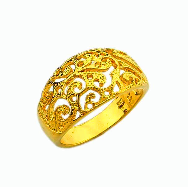 Vintage Gold Ring Yellow Gold 24 K Vacuum Plated Chinese Style
