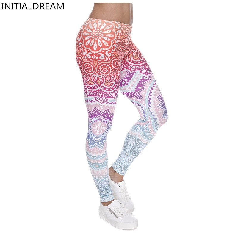 Kvinnor Leggings 2019 Classic 3D-tryck Aztec Ombre Leggins Mid-Waist High Elastic Pant Fitness Fiting Calzas Mujer Soft Bukser