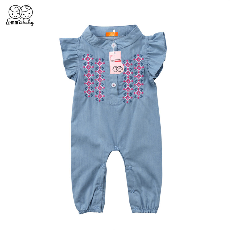 Baby Girl Denim Romper 2018 Newest Fashion Infant Newborn Girls Short Sleeve Jumpsuit Sunsuit Outfits Summer Bebes Baby Clothing baby girl 1st birthday outfits short sleeve infant clothing sets lace romper dress headband shoe toddler tutu set baby s clothes