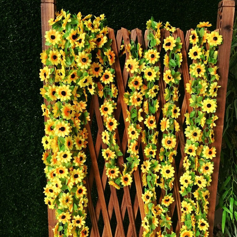 2m Artificial Sunflower Garland Flower Vine For DIY Floral Decor Vivid Fake Leaf Flower Wedding Home Party Decoration