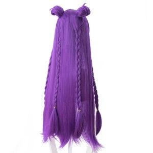 Image 4 - גבוהה באיכות LOL KDA Kaisa פאת קוספליי בת של הריק Kaisa פאה עמיד בחום סינטטי שיער פאות + כובע פאה
