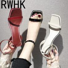RWHK Sandals women's shoes 2019 tide shoes new summer Korean version of the wild with a thick with a word with high heels B241 2018 summer new sandals female hollow word buckle high heeled shoes high heels wild with a single shoes women s shoes f072