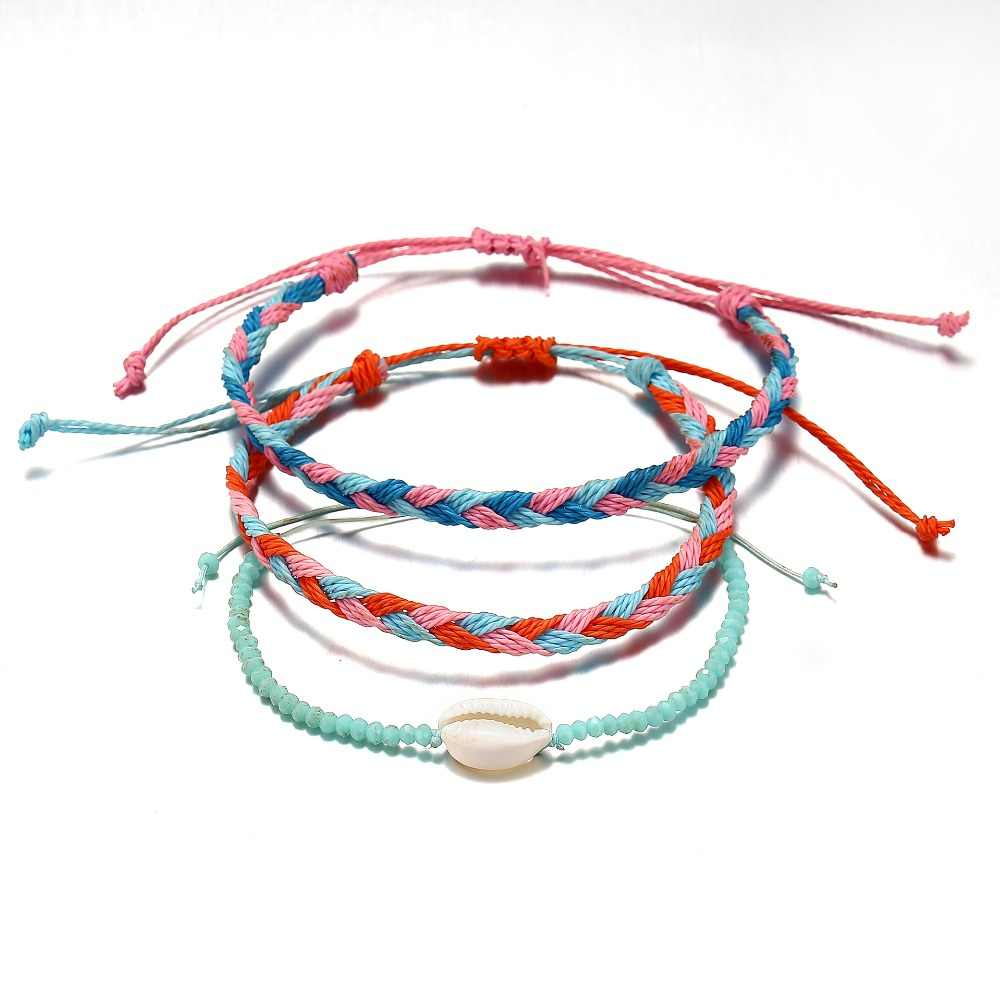 High Quality 3Pcs Boho Multi Layered Cowrie Shell Bracelet For Women Beach Handmade Woven Rope String Friendship Charm Bracelets