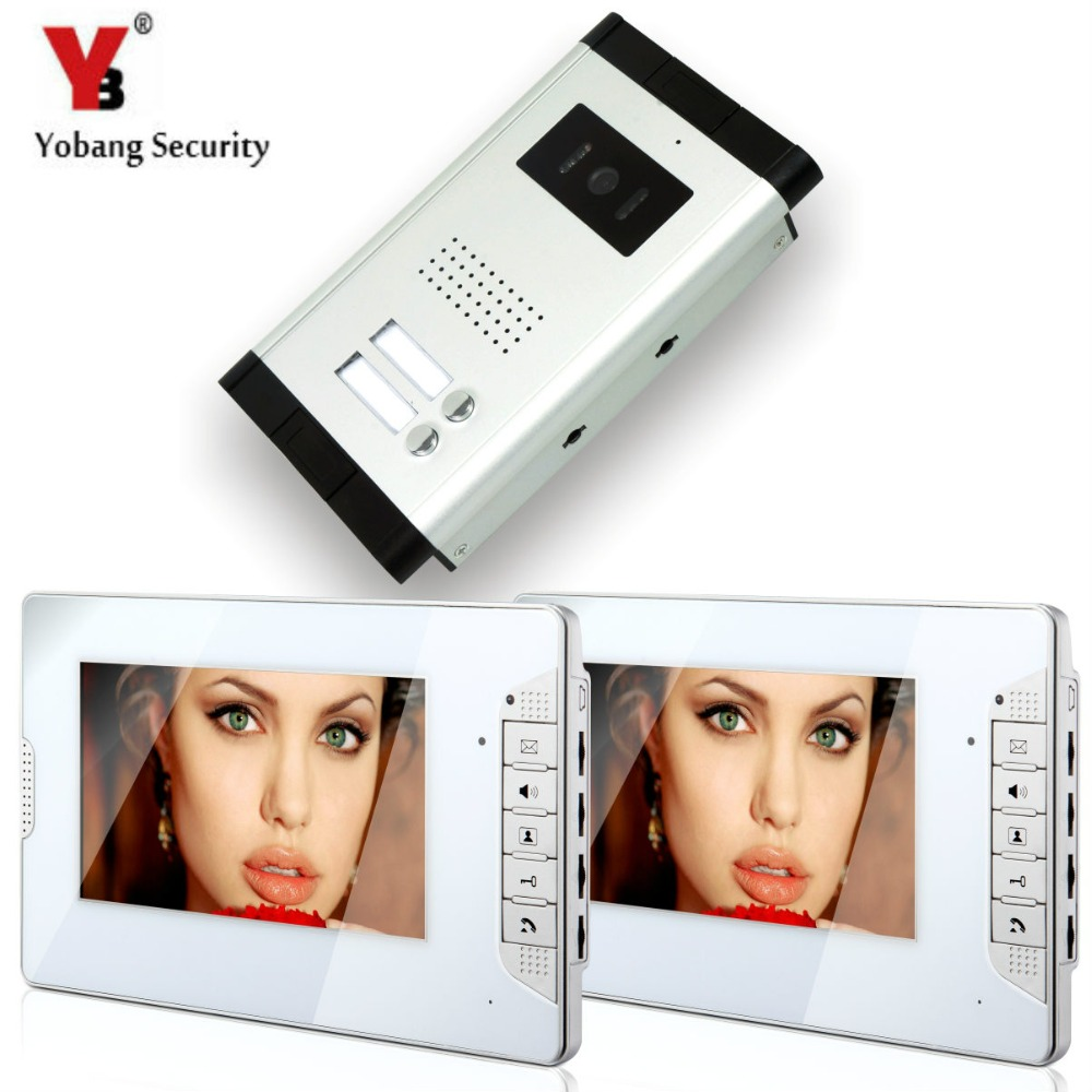 YobangSecurity 7 Inch HD Color Cable Video Door Phone Video Door The System Intercom Doorbell Home  Parts 2 Unit Apartment Kit