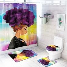 цена на VOGVIGO African explosion head woman waterproof shower curtain bathroom mat four-piece bathroom toilet anti-slip carpet home