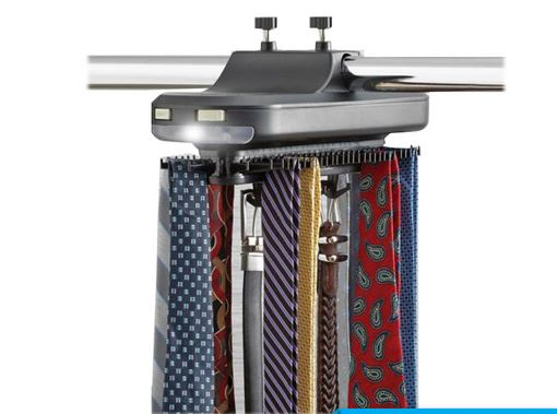 Automaitic Tie Rack Belt Organizer Scarf Hangs up to 64 ties and 8 Belts With LED