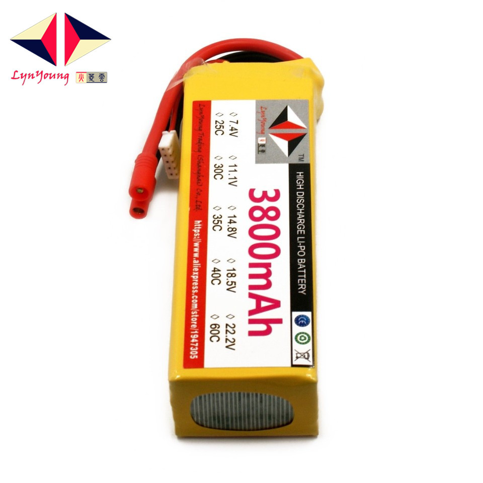 LYNYOUNG 4S lipo battery 14.8V 3800mAh 30C max 60c for RC plane Helicopter Truck boat CarLYNYOUNG 4S lipo battery 14.8V 3800mAh 30C max 60c for RC plane Helicopter Truck boat Car