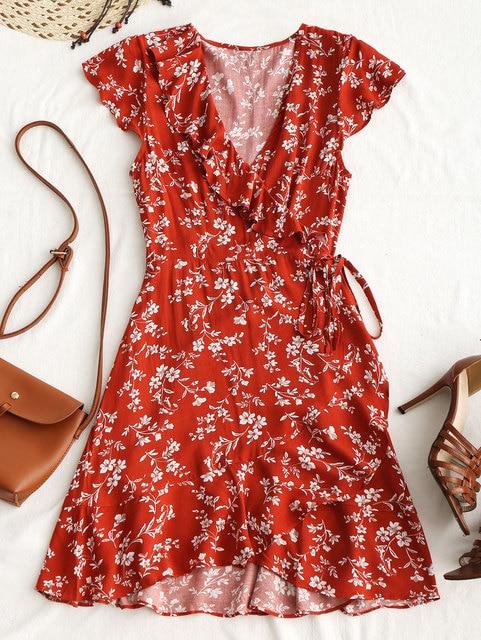 3cc1dd3fe8140 US $25.21  Wipalo Boho Summer Dress Tiny Floral Ruffle Wrap Mini Dress 2018  Women V Neck Casual Short Sleeve Beach Dress Vestidos Robes-in Dresses ...