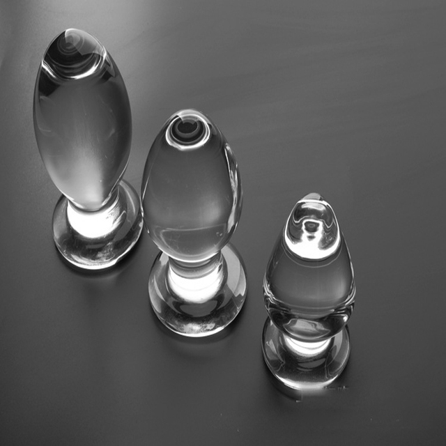 Big anal plug Transparent crystal glass butt plug 3 size Optional anal sex toys glass buttplug sex toys for men