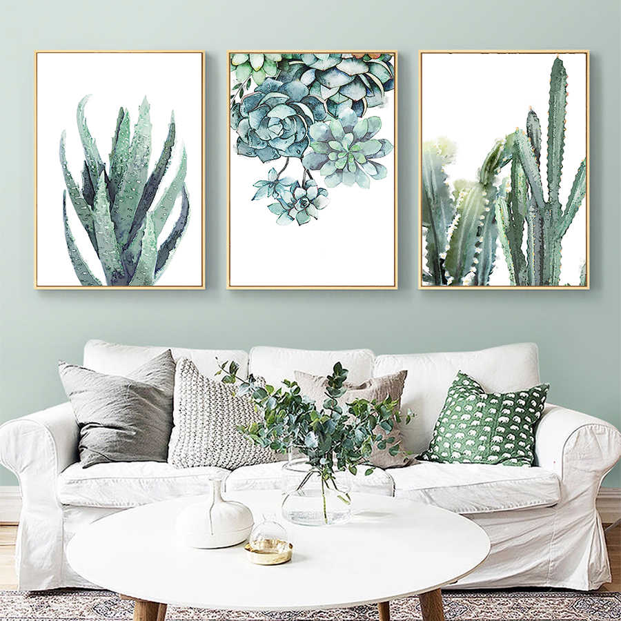 Watercolor Canvas Art Painting Nordic Style Green Succulent Plant Poster and Print Aloe and Cactus Wall Picture for Office Decor