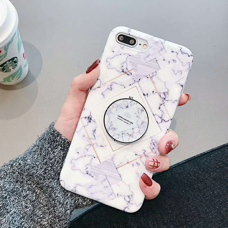 Geometric Marble Pattern Kickstand Phone Case For iPhone XS Max XR X 6 6S 7 8 Plus Fashion IMD Soft Protective Back Cover Coque (7)