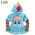 LZH 1 UNIDS Nuevo 2016 Chicas Chaqueta de la Capa de Los Niños de Dibujos Animados Lindo Con Volantes hem Hoodies Niños Sudaderas casual chaqueta de cremallera