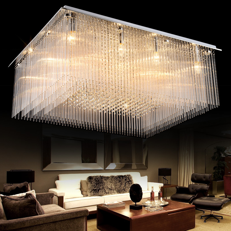 Rectangle Luxury Crystal Hall Large Ceiling Lamp LED Creative Sitting Room Restaurant Pendant Light Engineering Indoor Lamp j best price modern fashion crystal lamp rectangle restaurant ceiling lamp sitting room partition lamps led ceiling light