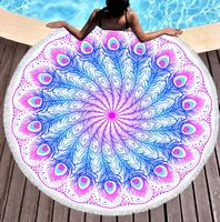Round Beach Towel with Tassel Peacock feather Microfiber Towel Travel Picnic Blanket Yoga Mat Tapestry style 3