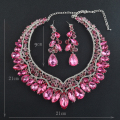 Luxury Rhinestone Bridal Jewelry Set  Women Necklace Earring Set  Brides Wedding Prom Party Jewelry Accessories