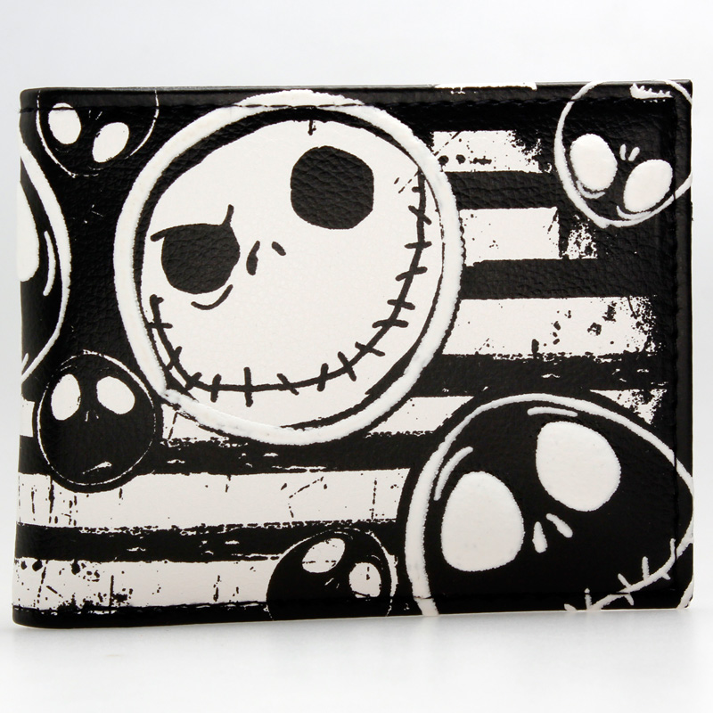 Jack Skellington Long PU Leather White Wallet DFT-1915 zelda wallet bifold link faux leather dft 1857