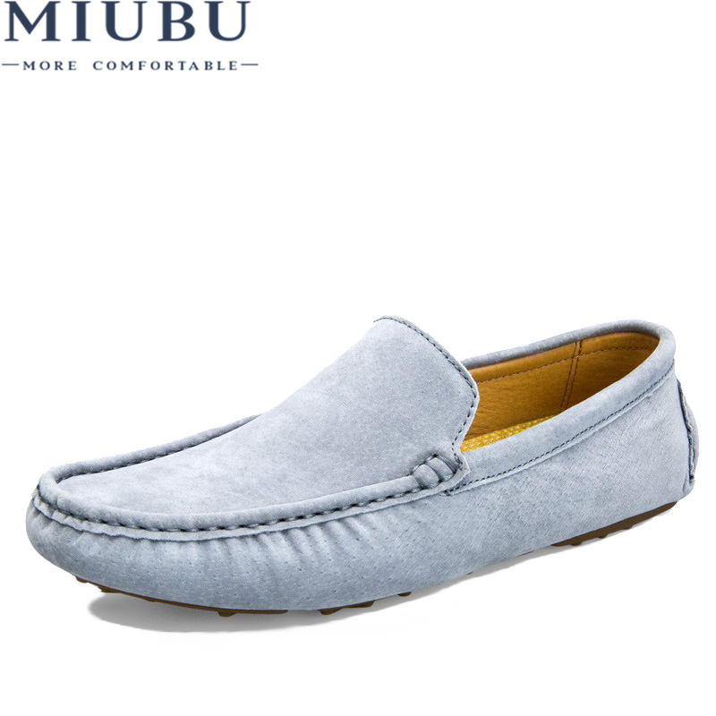 MIUBU Luxury Brand Fashion Soft Moccasins Men Loafers High Quality Genuine Leather Shoes Mens Flats Suede Driving Shoes