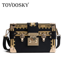 TOYOOSKY Famous Brand Rivet Box Handbags Women Mini Cube Original Design Crossbody Bags for Messenger Bag Sac A Main
