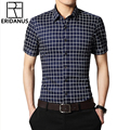 2016 Men Dress Shirts Summer New Arrival Fashion British Style Slim Fitness Short Sleeve Casual Business Man Shirt M-5XL M063