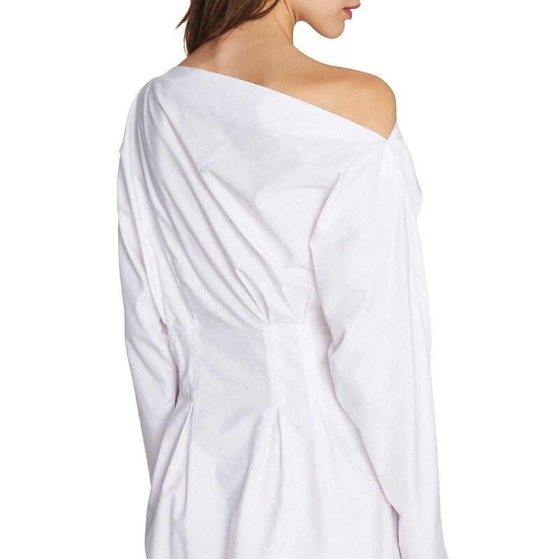 Taille Robe Longues Robes White Oxant Tunique Femmes Dress Épaule Femme Blanc Manches Vêtements Pour Mini Cou Haute Slash Hors D'été q5z5v4xw