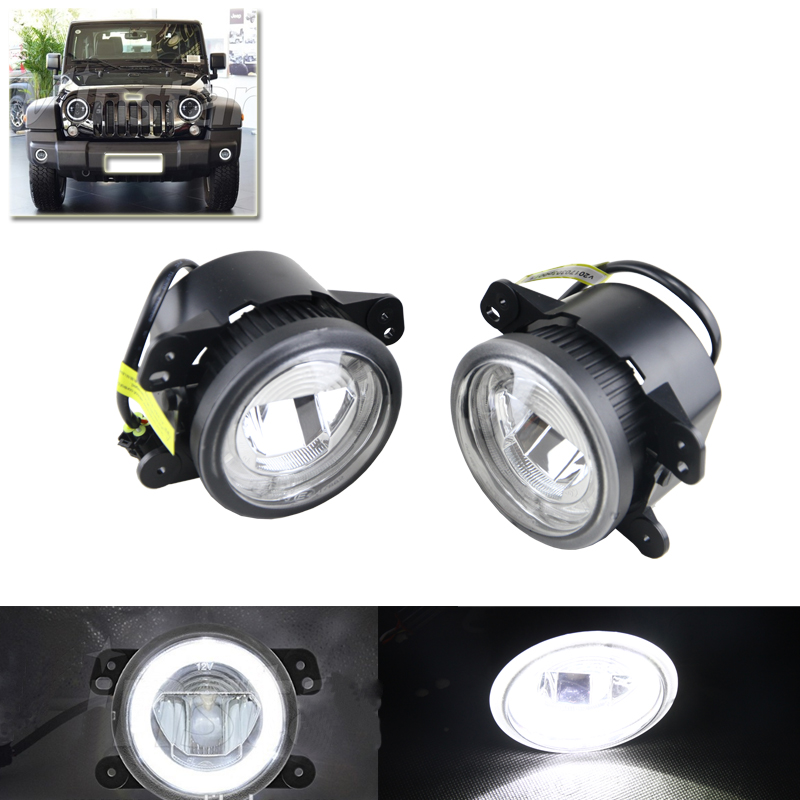 Auto Car Led Front Fog Light Assembly W/ White Halo Rings DRL Fit For Dodge Charger Journey For Jeep Wrangler Grand Cherokee hochitech single color under car body light led rock light waterproof for jeep wrangler compass cherokee renegade rand cherokee