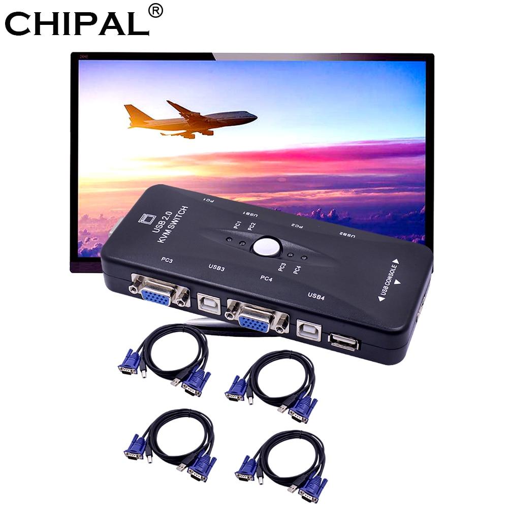 4 Kabel Für Tastatur Maus Monitor Drucker Zielsetzung Chipal 10 Stücke 4 Port Usb 2.0 Kvm Schalter Switcher 1920*1440 Vga Svga Splitter Adapter Kvm-switches