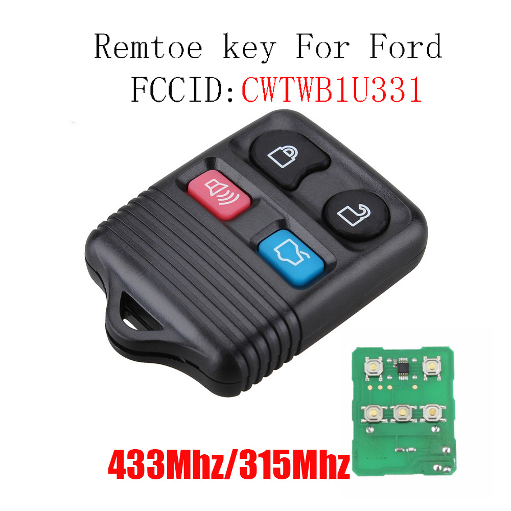 Remote Key Transit Keyless Entry Fob 4 Button 315MHz / 433mhz For Ford complete remote control , Circuid Board included 2003 03 ford taurus pink keyless entry remote 4 button