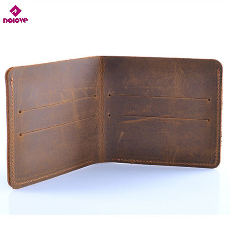DOLOVE 100% Genuine Leather Small Mini Ultra-thin Wallets Men Compact Wallet Handmade Wallet Cowhide Cardholder Short Design