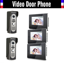 7 inch Video Door Phone Wired Video Intercom System Video Doorbell  IR Night Vision Camera Video interphone Kit 3-monitor