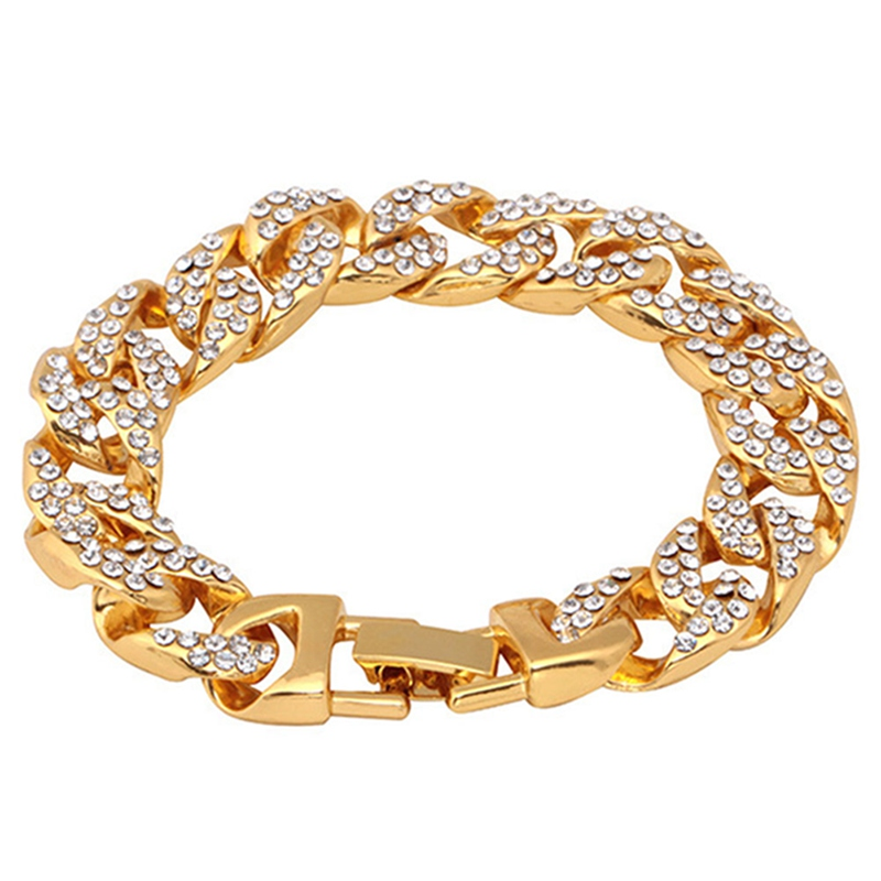 New Arrival Europe Bracelet Shiny Zircon Dragon Head Buckle Cuban Chain Fixing Color Men's Bracelet Jewelry Accessories