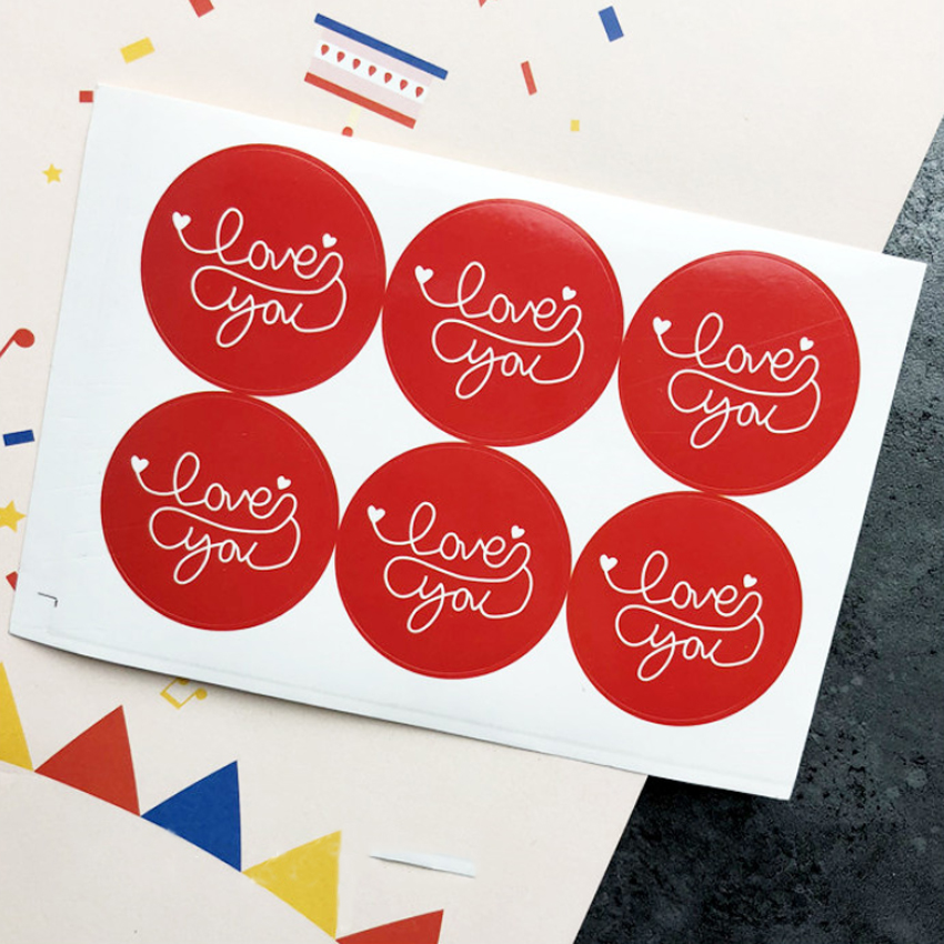 60pcs/lot Decorative Paper Seal Sticker For Handmade Products Red Love You Round