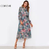 COLROVIE Floral Shirred Waist Chiffon Dress With Liner Slip Dresses Fall 2017 Fashion Women Elegant Long