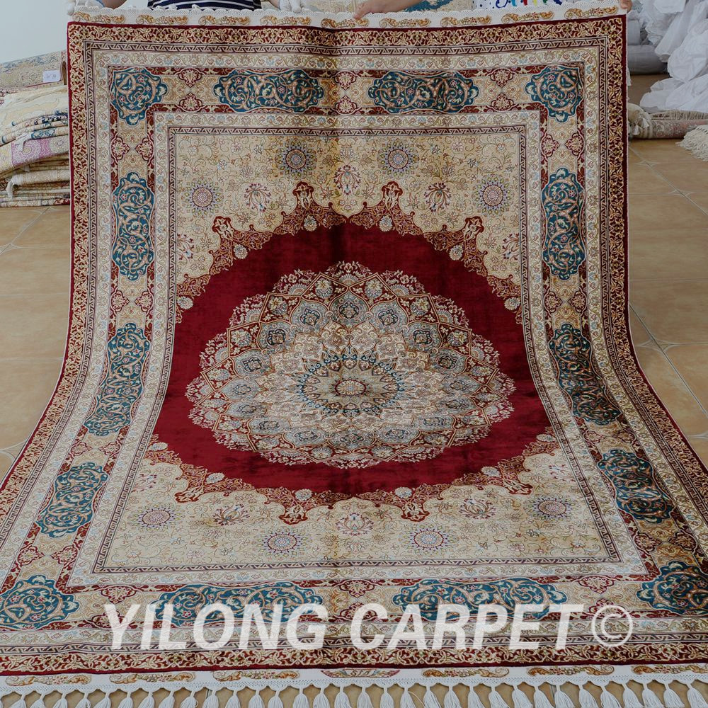 Yilong 5.5'x8' Antique handmade silk carpet red medallion ...