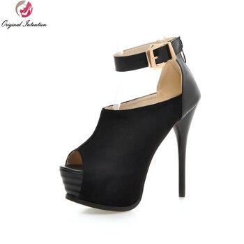 Original Intention New Stylish Women Sandals Flock Elegant Patch Platform Thin Heels Pumps Nice Shoes Woman US Size 3.5-10.5