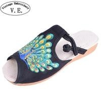 Vrouwen Schoenen Flats Pauw Katoen Slippers Sandalen Chinese Casual Slide Platte Schoenen Slip Op Peep Toe Sandials