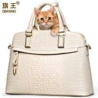 Qiwang Для женщин крокодил сумка большая элегантный топ ручки сумки Элитный бренд Для женщин дизайнерская сумочка 100% натуральная кожа сумка ж