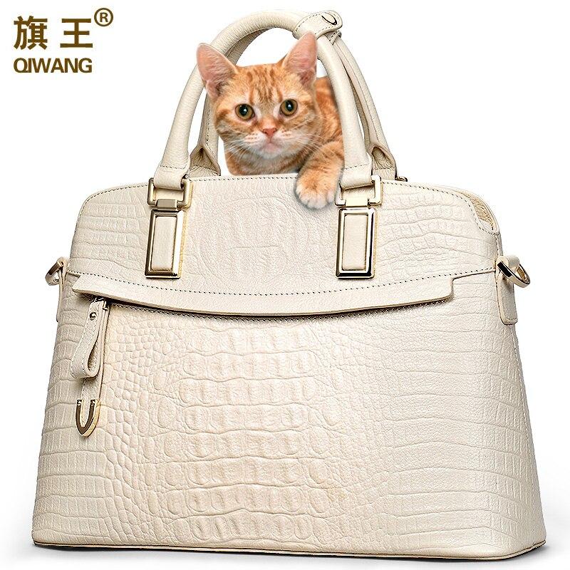 Qiwang Crocodile sac pour femme Grande De Luxe haut élégant poignée de sacs Marque Femmes sac à main de créateur 100% Véritable Sac En Cuir Femelle