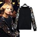 Grandes estaleiros europeus e Americanos Outono 2017 selvagem assentamento camisa de Lantejoulas T camisa das mulheres em torno do pescoço sweatershirts 200 libras