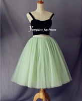 American Apparel High Waisted Long Tulle Skirt 7 Layers Green Midi Skirts Womens Adult Tutu Faldas