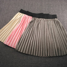 Kids Pleated Skirts Loose Velvet Spring Winter Skirt For Gir