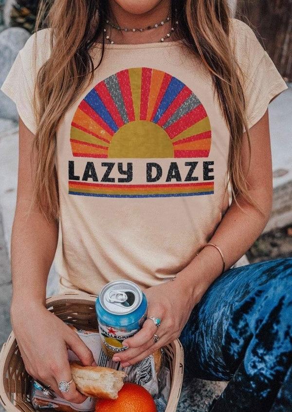 T-Shirt Women 2019 Summer Lazy Daze Short Sleeve T Shirt Flesh O-Neck Tops Tee Funny Female T-Shirt Casual Ladies Tops Tee