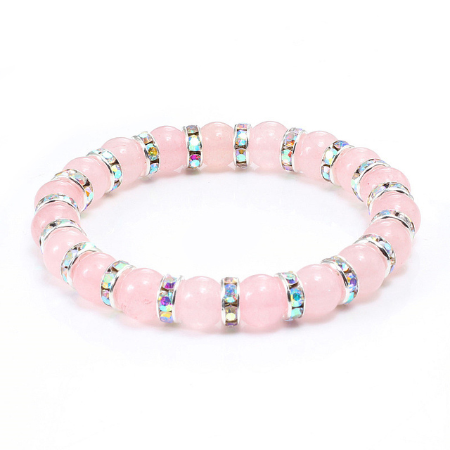 Natural Stone Pink Crystal Quartz Bracelets & Bangles For Women Men Casual Jewelry Charm Powder Beads Strand Bracelet Love Gifts