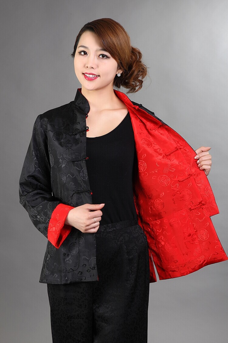 Discount Black Red Reversible Lady Silk Jacket Mandarin Collar Two Face Outwear Single Breasted Coat Size S XXXL NJ125