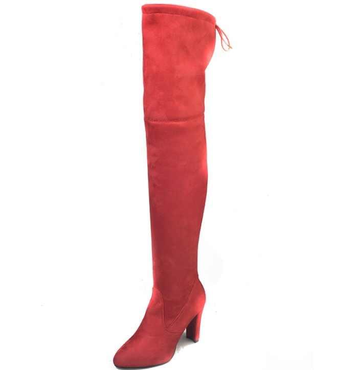 35-43 2019 ใหม่รองเท้าผู้หญิงรองเท้าสีดำเหนือเข่ารองเท้าบูทเซ็กซี่หญิงฤดูใบไม้ร่วงฤดูหนาว lady ต้นขาสูงรองเท้า