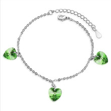 Everoyal Charm Crystal Pink Heart Girls Bracelets Jewelry Women Trendy 925 Sterling Silver Bracelet Female Accessories