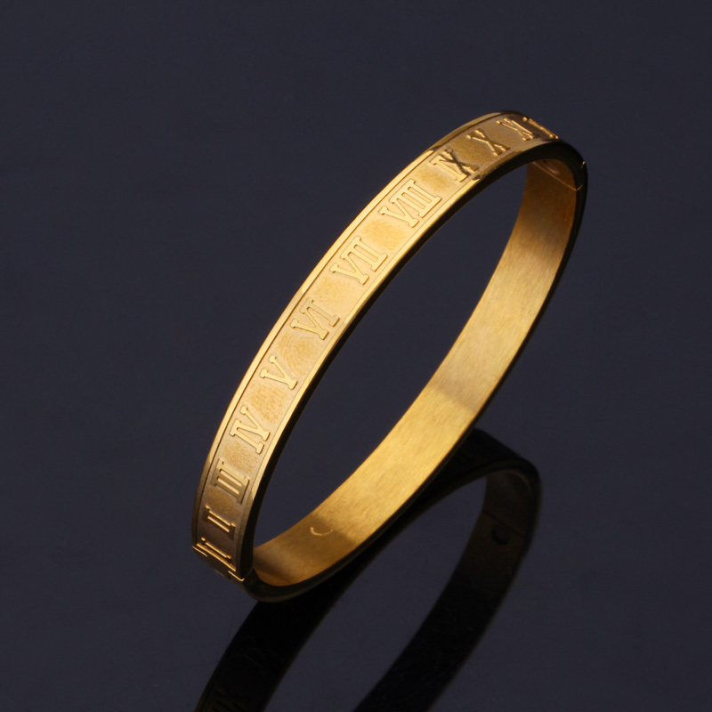 U7 Roman Numerals Vintage Bangle Gold Silver Color 316l Stainless Steel Women Men Jewelry Bracelet Whole H478 In Bangles From