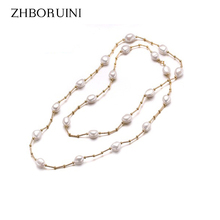 ZHBORUINI High Quality Fashion Long Pearl Necklace Baroque Natural Freshwater Pearl Pearl Jewelry For Women Necklace Accessories